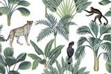 Tropikalna małpa vintage, lamparty, czarny ptak, palmy, bananowiec kwiatowy wzór białe tło. Tapeta egzotycznej dżungli. - 311094973