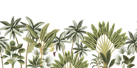 Panel Szklany Natura Tropical vintage botanical palm trees, banana tree floral seamless border white background. Exotic jungle wallpaper.