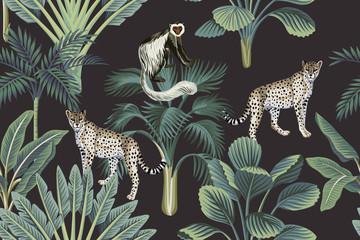 Fototapeta Vintage Tropical vintage monkey, leopards, palm trees, banana tree floral seamless pattern dark background. Exotic jungle wallpaper.
