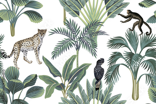 fototapeta na szkło Tropical vintage monkey, leopards, black bird, palm trees, banana tree floral seamless pattern white background. Exotic jungle wallpaper.