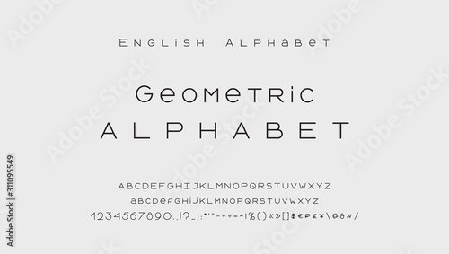 Obraz Minimal style alphabet. Modern abstract vector typeface, uppercase and lowercase letters, numbers, symbols and marks. Black thin lines font typography - fototapety do salonu