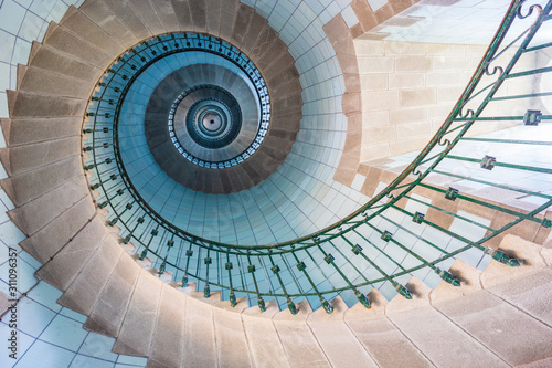 Valokuva High lighthouse stairs, vierge island, brittany,france