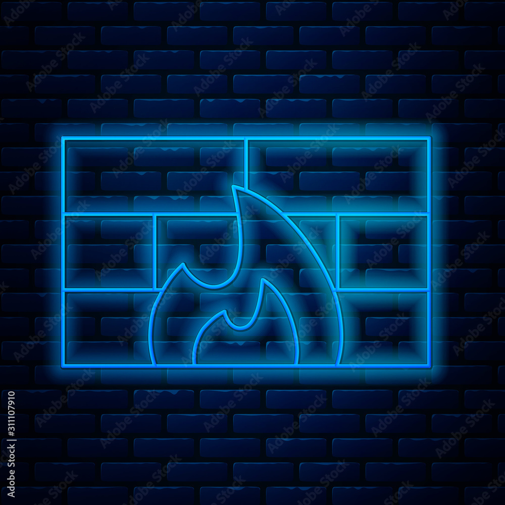 Fototapeta Glowing neon line Firewall, security wall icon isolated on brick wall background. Vector Illustration