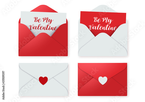 Fototapeta Love letters vector elements set