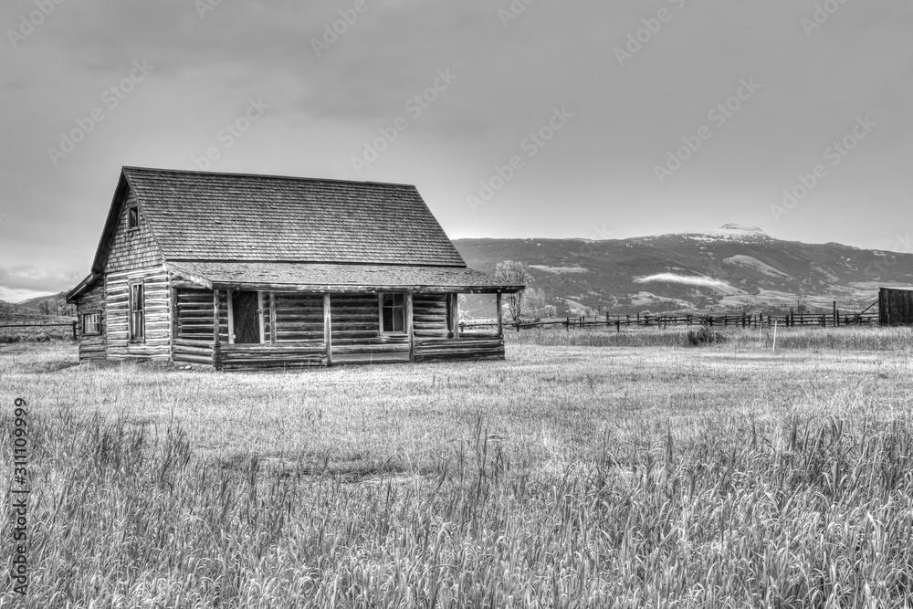 Fototapeta log cabin in wyoming