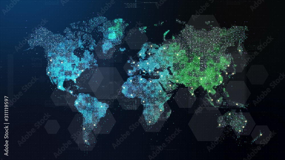 Fototapeta Futuristic global 5G worldwide communication via broadband internet connections between cities around the world with matrix particles continent map for head up display background