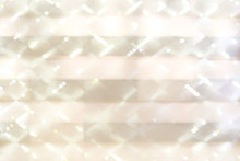 Light Gold Bokeh Defocused Background. Luxury Glittering Light For Product Placement. Diagonal And Grid Overlay Pattern.