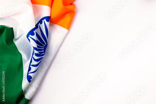 Obraz Indian republic day, flat lay top view, Indian tricolor flag - fototapety do salonu