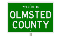 Rendering Of A Green 3d Highway Sign For Olmsted County