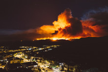 California Wildfire Burns Near A Residential Area At Night