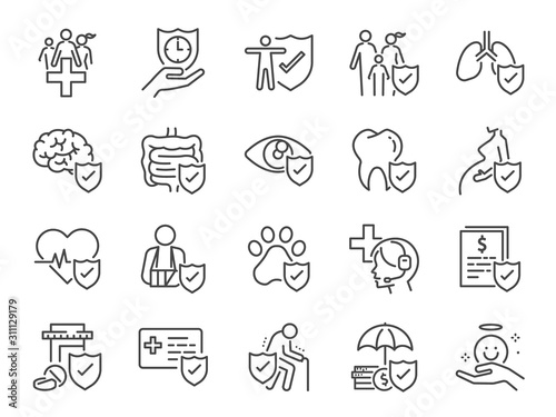 Obraz Health insurance icon set. Included icons as emergency, secure, risk management, protection, healthcare and more. - fototapety do salonu