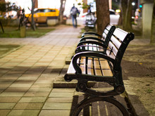 Benches On Pavement In Light L...