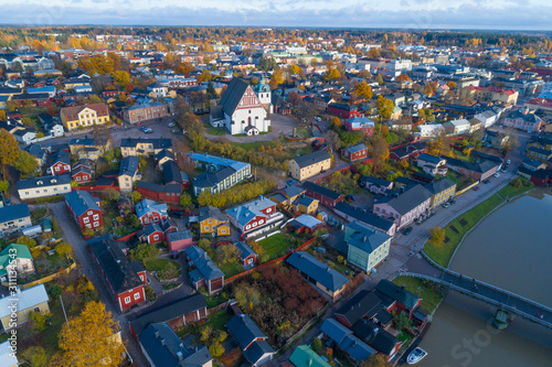 Landscape of old Porvoo on October day (aerial photography) Wallpaper Mural