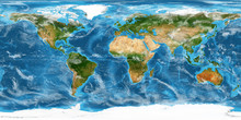 XXL Size Physical World Map Illustration. Primary Source, Elements Of This Image Furnished By NASA. Extra Large Big Map With Highest Detail Avalable. 350 Mega Pixels Resolution.