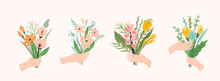 Vector Illustration Bouquets Of Flowers In Hands. Design Template