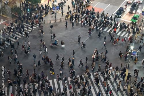 Photo 世界一有名な東京渋谷の交差点。