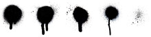 Close-up Of Several Black Spray Paint Spots, Splashes And Drips, Isolated On White Background.