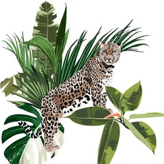 Fototapeta Do jadalni Graceful leopard and tropical palm leaves composition. Savana cat. Elegant seanless pattern, hand drawn style print for t-shorts.
