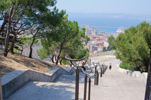 Marseille, France :  Stairs To Get To The Basilique Notre-Dame De La Garde, La Bonne Mère. The Basilica Of Our Lady Of The Guard, Religious Famous Monument