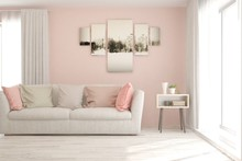Stylish Room In Pink Color Wit...