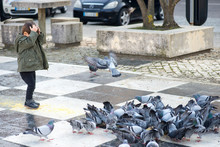 Boy Feeding The Pigeons In A P...