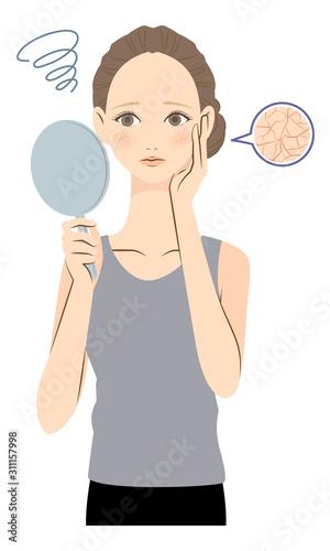 Fototapeta 乾燥肌に悩む女性 イラスト