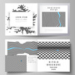 The vector illustration layout of two covers templates for square design bifold brochure, magazine, flyer, booklet. Abstract big data visualization concept backgrounds with lines and cubes.