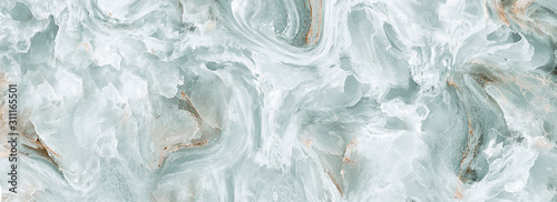 Polished onyx marble with high-resolution, aqua tone emperador marble, natural breccia stone agate surface, modern Italian marble for interior-exterior home decoration tile and ceramic tile surface. - 311165501