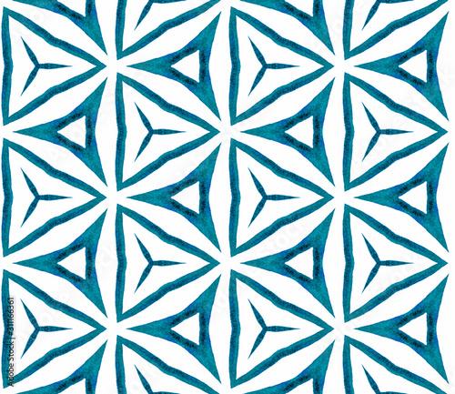 Photo  Blue kaleidoscope seamless pattern. Hand drawn wat
