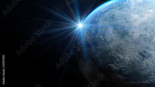 Fototapety kosmos  planeta-ziemia-z-kosmosu-w-nocy-wschod-slonca-oswietla-ziemie-w-przestrzeni-kosmicznej-elementy