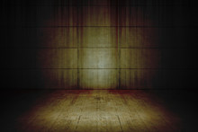 Bloody Background Scary Old Cement Blocks Wall And Cement Floor In Empty Room, Concept Of Horror And Halloween
