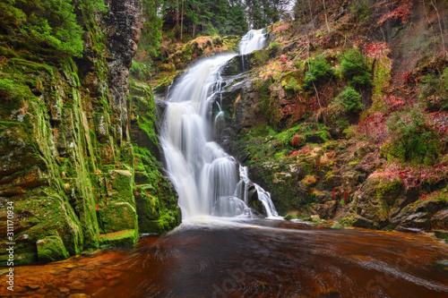 Kamienczyk Waterfall (Wodospad Kamienczyka) in Sudetes mountains near Szklarska Poreba, Poland