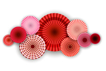 Red Round Fans On A White Back...