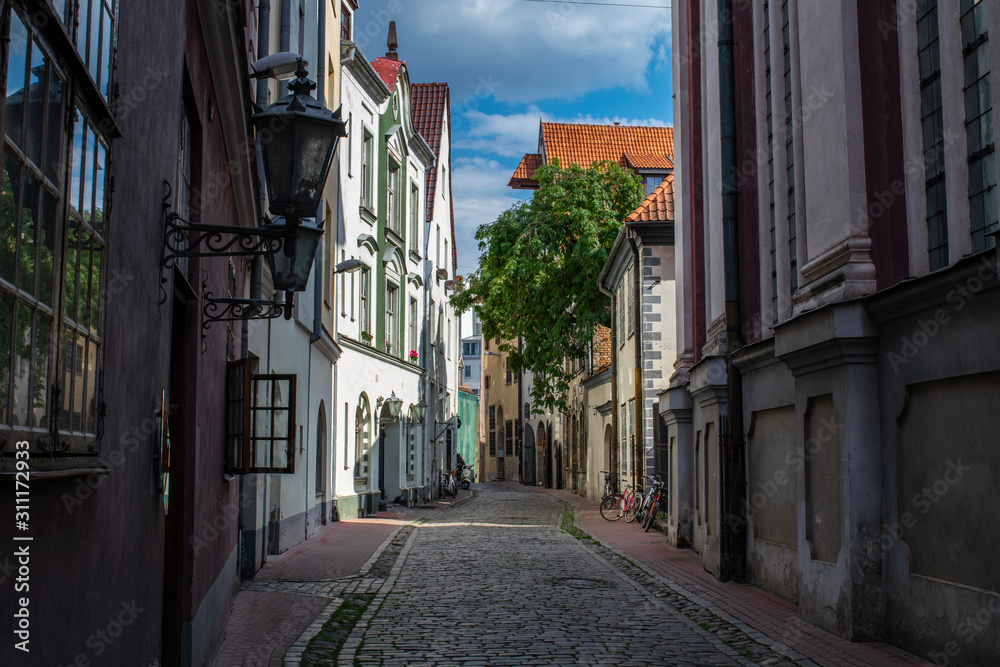 Historic streets in the Old Town of Riga, Latvia