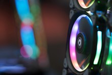 Close Up Of Computer RGB Gaming, Illuminated By Colored LED