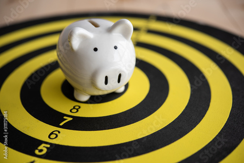 Fotomural  piggy bank on dartboard concept of saving money with a goal