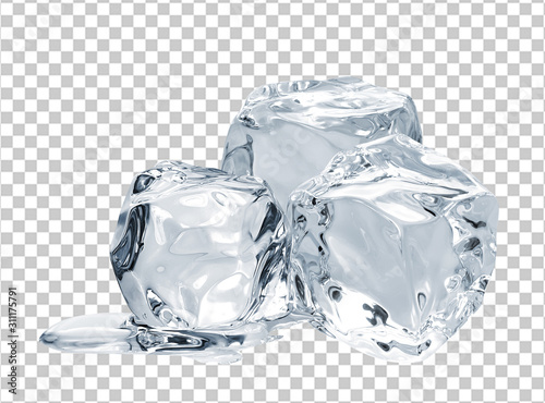Stampa su Tela Melting ice cube isolated on checkered background including clipping path