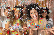 Crazy People Throwing Confetti In Brazil Carnaval. Friends Having Fun At Brazilian Carnival Party.