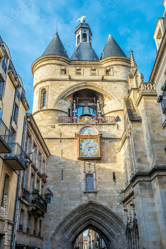 Big Bell tower in the center of Bordeaux city. Canvas Print