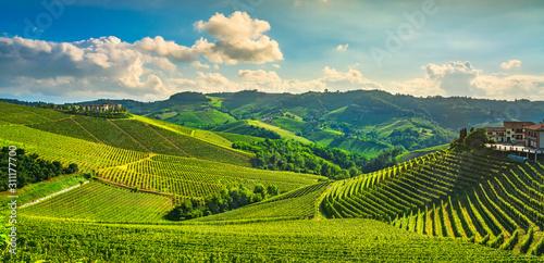 Photo Langhe vineyards sunset panorama, Serralunga Alba, Piedmont, Italy Europe