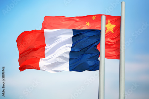 Flags of France and China Canvas Print