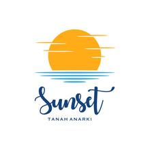 Sunset Beautiful Icon Logo Design Vector Illustration.