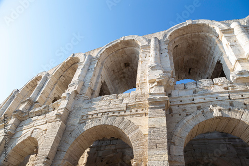 Photo Close up of Arles Roman Ampitheatre in Provence, France