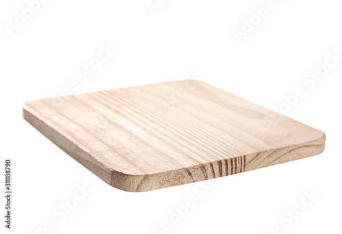 Foto Wooden empty square platter,cooking dish isolated on white.