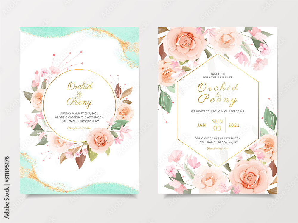 Fototapeta Wedding invitation card template set with peach and pink roses flowers. Cards with various floral illustration and watercolor background for save the date, invitation, greeting card vector