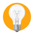 Light bulb on yellow background vector isolated. Single electric