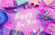 canvas print picture - Celebration,anniversary concepts with Happy New Year text on colorful prop element background