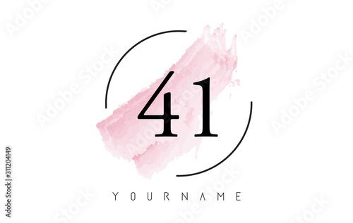 Fotografia Number 41 Watercolor Stroke Logo Design with Circular Brush Pattern