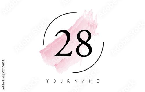 Fotografia  Number 28 Watercolor Stroke Logo Design with Circular Brush Pattern