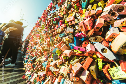 Photo  Plenty of Locked master key on the fence of Namsan Tower